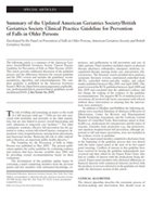 Updated American Geriatrics Society/British Geriatrics Society Clinical Practice Guideline for Prevention of Falls in Older Persons and Recommendations